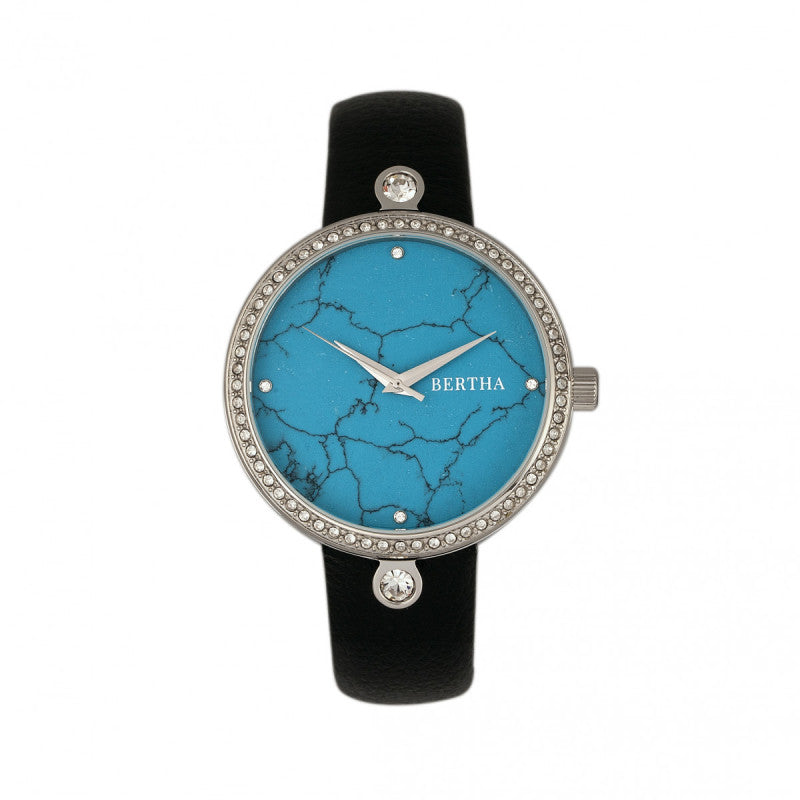 Bertha Frances Marble Dial Leather-Band Watch