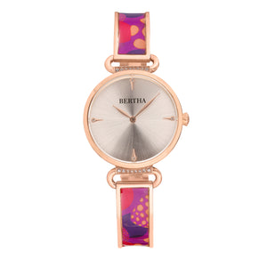 Bertha Katherine Enamel-Designed Bracelet Watch - Purple - BTHBS1305