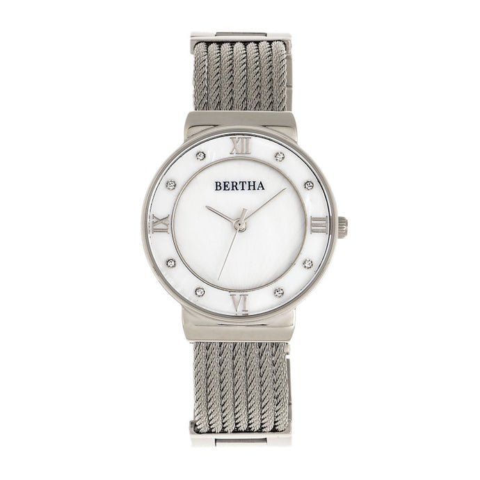 Bertha Dawn Mother-of-Pearl Cable Bracelet Watch - BTHBR9701