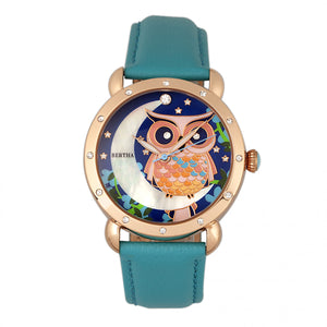 Bertha Ashley MOP Leather-Band Ladies Watch - Rose Gold/Turquoise - BTHBR3007