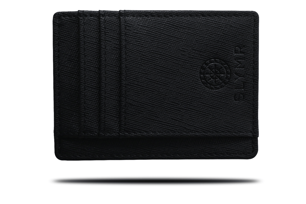 TEXTURED BLACK slim leather wallet