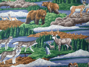 MOUNTAIN ANIMALS SCENIC PRINT
