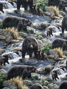 COOL WATERS BEARS SCENIC FABRIC