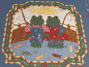 FISHING FROGS PILLOW PANEL