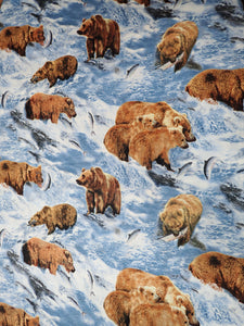 NORTH AMERICAN GRIZZLY BEAR SCENIC FABRIC