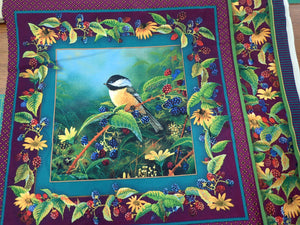 BIRDS AND BERRIES PILLOW PANEL