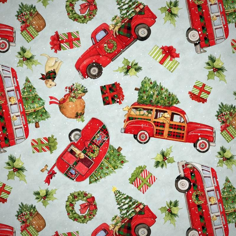 TRUCK COLLAGE COTTON ALL OVER PRINT
