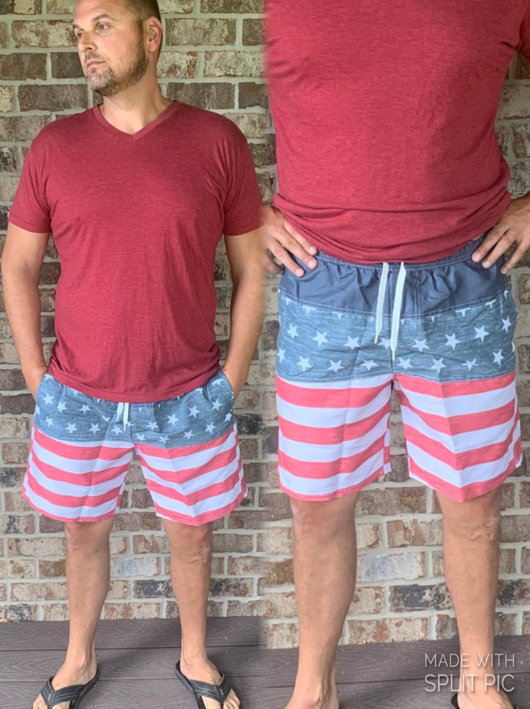 Mens Red White and Blue Swim Trunks