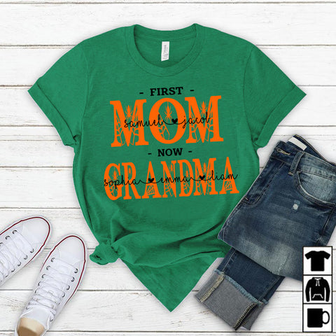 Namashops Personalized First Mom Now Grandma, Halloween Shirt