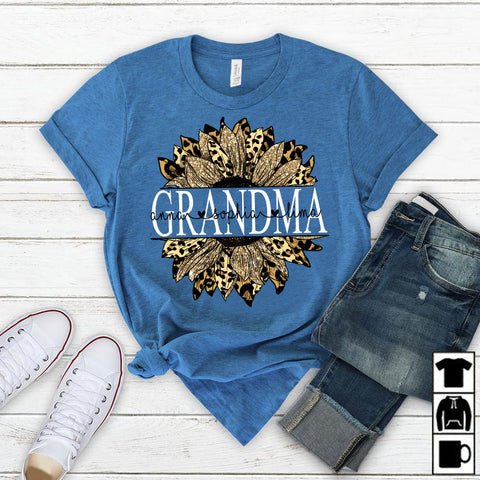 Namashops Personalized Grandma Flower Leopard, Custom Names Shirt