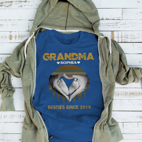 Namashops Personalized Grandma And Kid Shirt, Custom Names Shirt