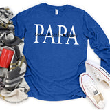 Namashops Personalized Papa Shirt, Custom Name Long Sleeve Shirt