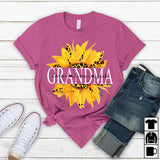 Namashops Personalized Grandma And Grandkids, Sunflower Leopard Shirt