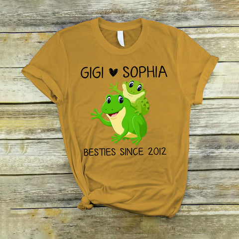 Namashops Personalized Gigi And Grandkid Frog, Custom Names Shirt