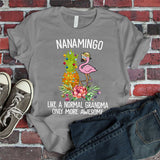 Namashops Personalized Grandma Flamingo, Custom Names Shirt