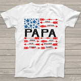 Namashops Personalized Papa American Flag And Kids Name, Custom Names Shirt