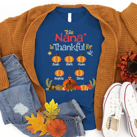 Namashops Personalized This Nana Is Thankful For Kids - Custom Names Shirt