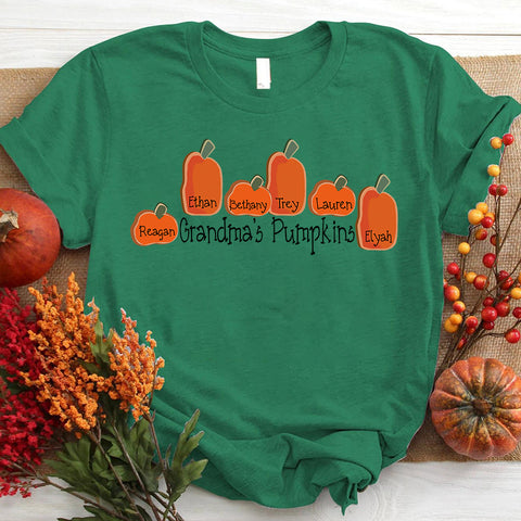 Namashops Personalized Grandma's Pumpkins And Kids, Halloween Shirt