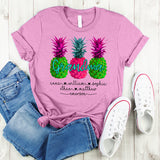 Namashops Personalized Grandma Summer Pineapple, Custom Names Shirt