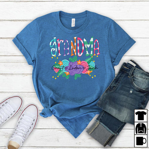 Namashops Personalized Watercolor Grandma Flower, Custom Names Shirt - namashops