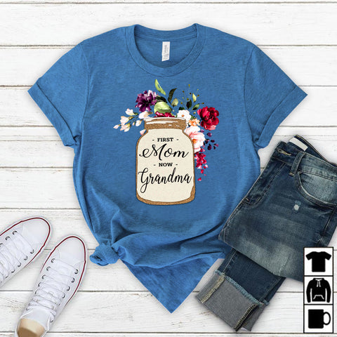Namashops Personalized First Mom Now Grandma Mason, Custom Names Shirt - namashops