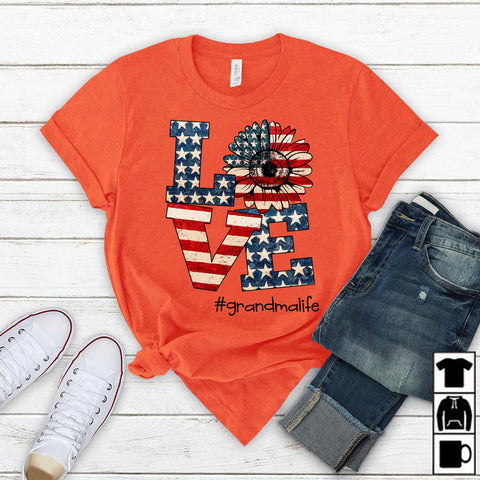 Namashops Personalized Love Grandma Life America 4th of July Shirt
