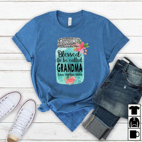 Namashops Personalized Blessed To Be Called Grandma Kid's Names, Custom Names Shirt - namashops
