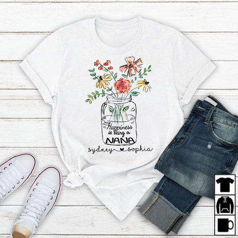 Namashops Personalized Happiness Is Being A Nana, Custom Nana Shirt - namashops