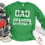 Namashops Personalized First Dad Now Grandpa, Custom Name Long Sleeve Shirt