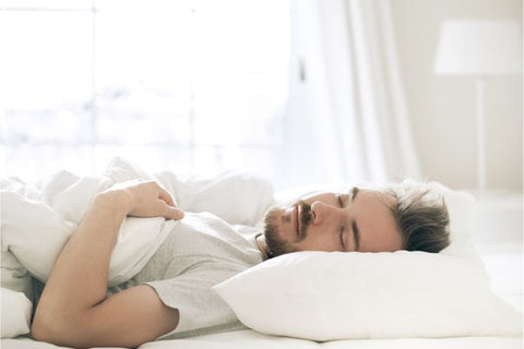 man asleep after doing breathing exercises