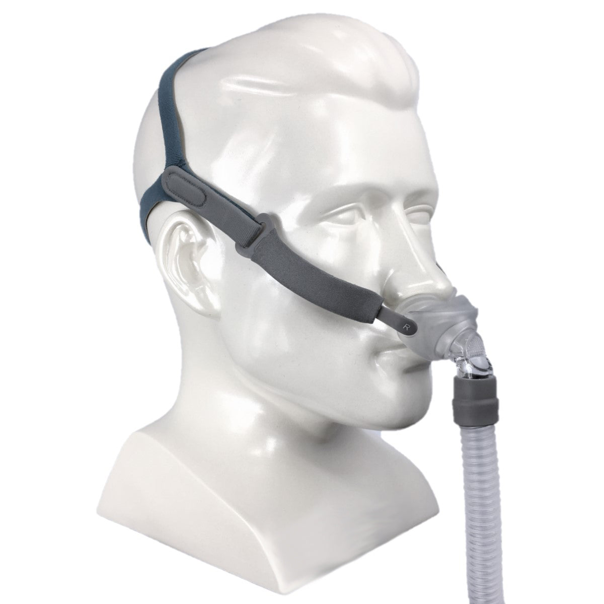 Mannequin with Rio 2 Nasal Pillow System Mask With Headgear by 3B Medical.
