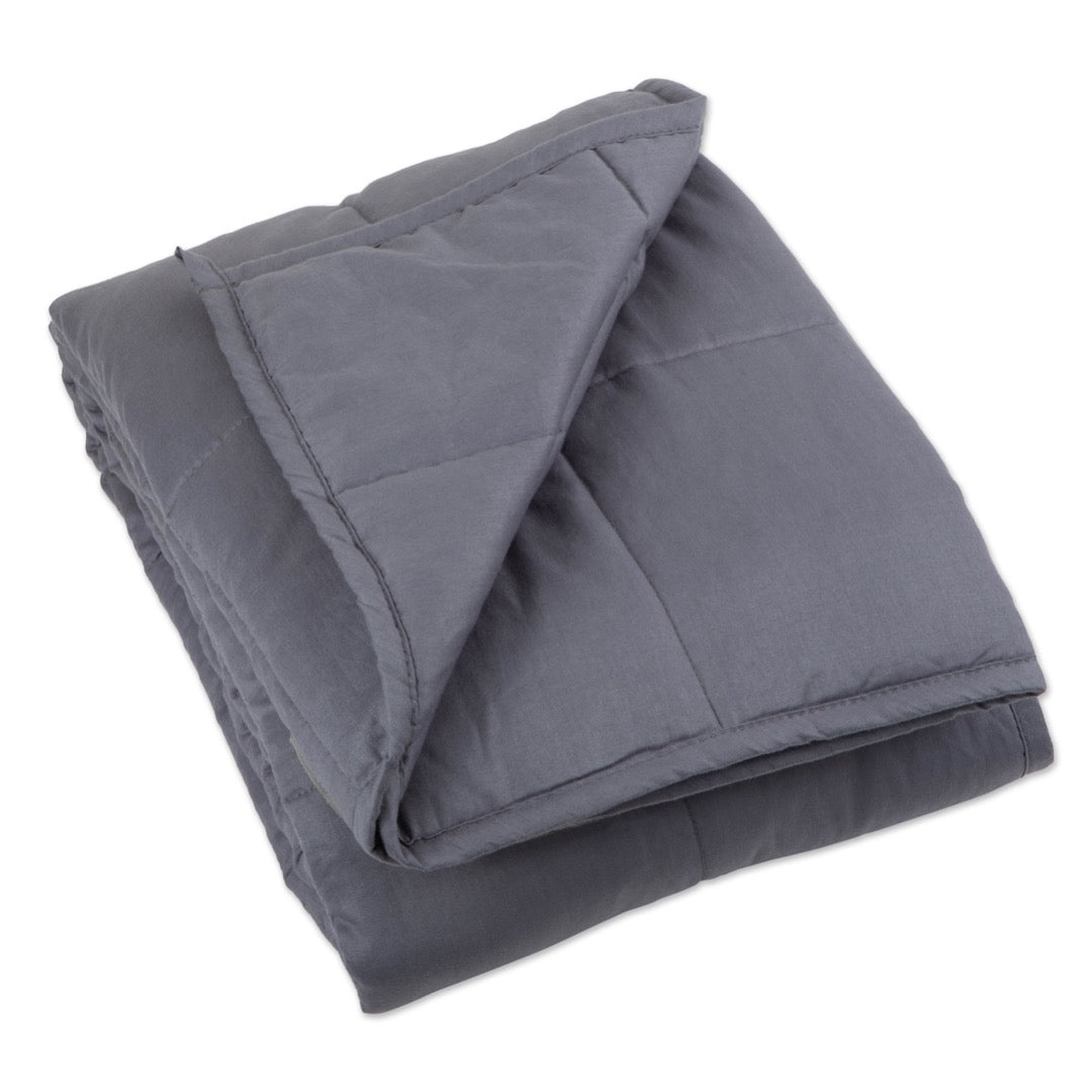 "Top view of 41"" x 60"" Weighted Blanket Grey"
