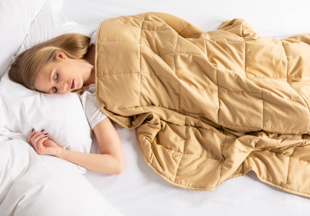 "Woman sleeping with 41"" x 60"" Weighted Blanket Taupe"