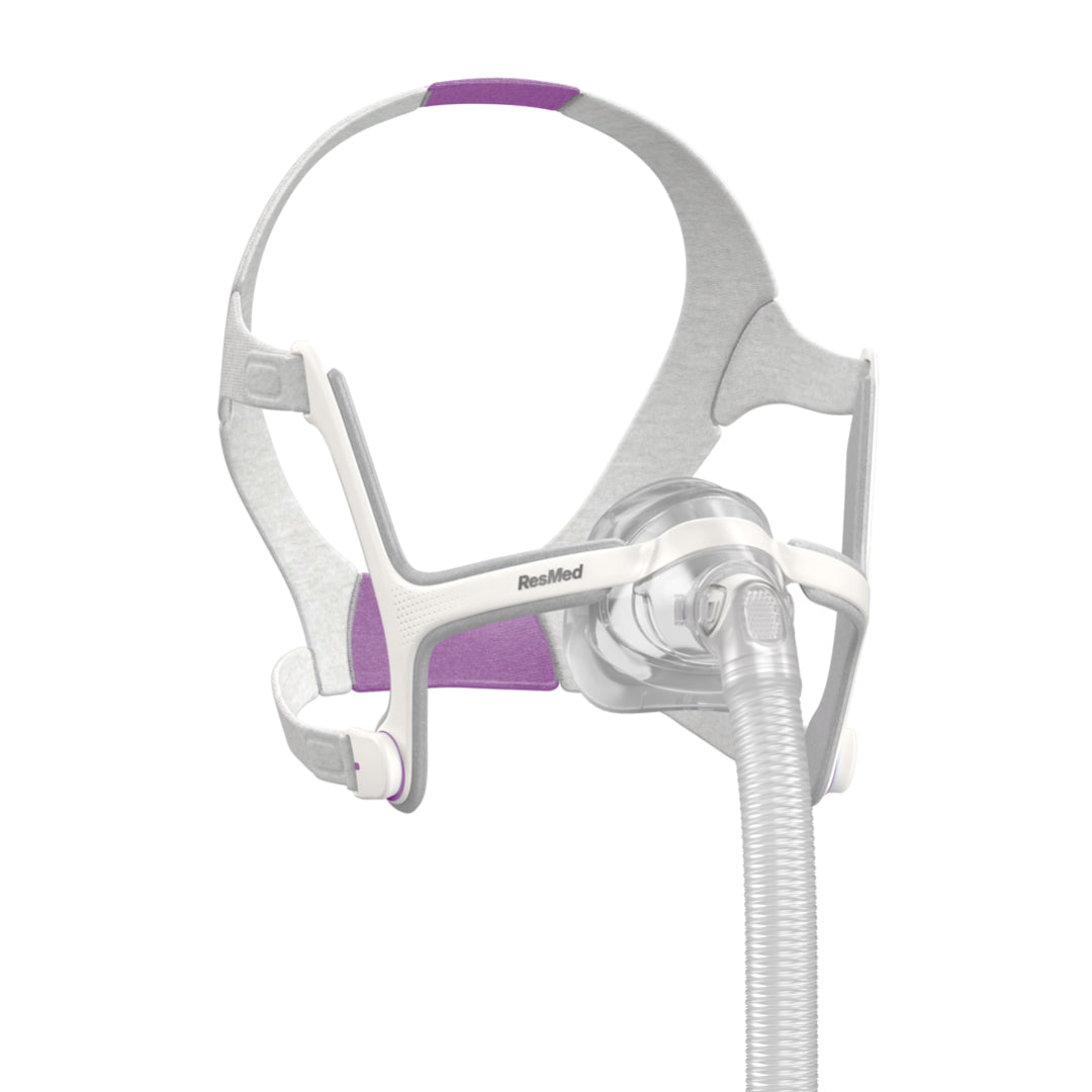 Isometric view of ResMed Air Touch N20 Nasal Mask For Her with grey and lavender part color on headgear.
