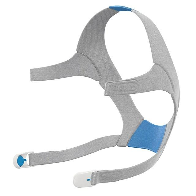 Grey and blue headgear for the AirFit N20.