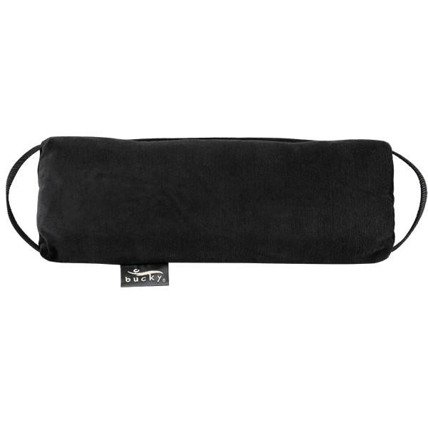 Front view of Baxter Adjustable Back Pillow in black with side straps.