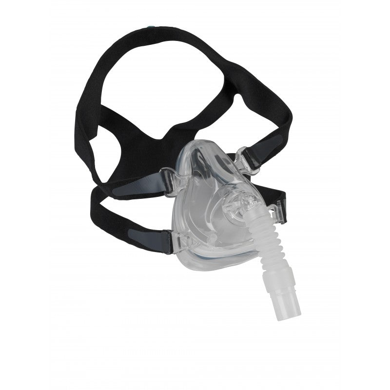 View of the Comfort Fit Deluxe Full Face Mask with black headgear made by Drive Medical.