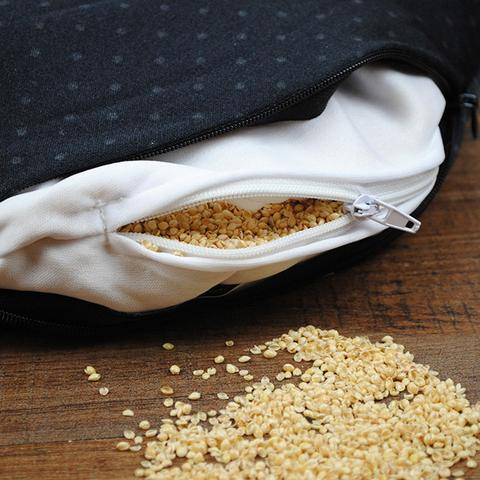 Eco friendly millet hulls and bolster pillow inside the Compack Neck Pillow by Bucky.