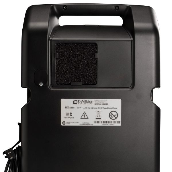 Back view of black Compact 525DS Oxygen Concentrator Bundle - 5 LPM
