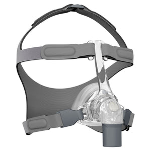 Isometric view of clear Eson Nasal Mask with grey headgear by Fisher and Paykel.
