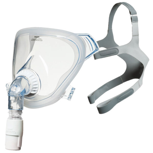 Side view of assembly of clear full face mask from FitLife Total Face CPAP Mask With Light Grey Headgear by Phillips Respironics.