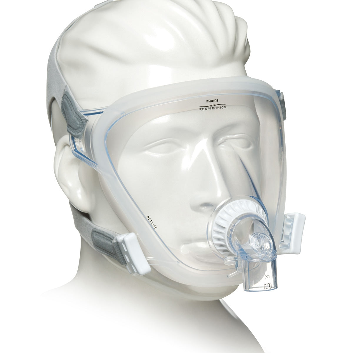 Side view of clear full face mask from FitLife Total Face CPAP Mask With Light Grey Headgear by Phillips Respironics.