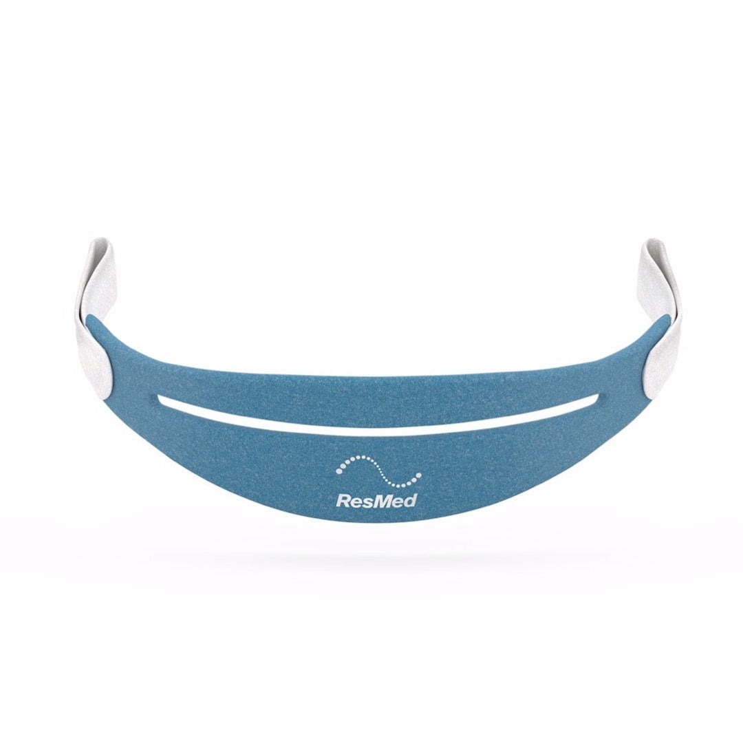 Front view of ResMed AirFit P30 blue headgear with grey straps.