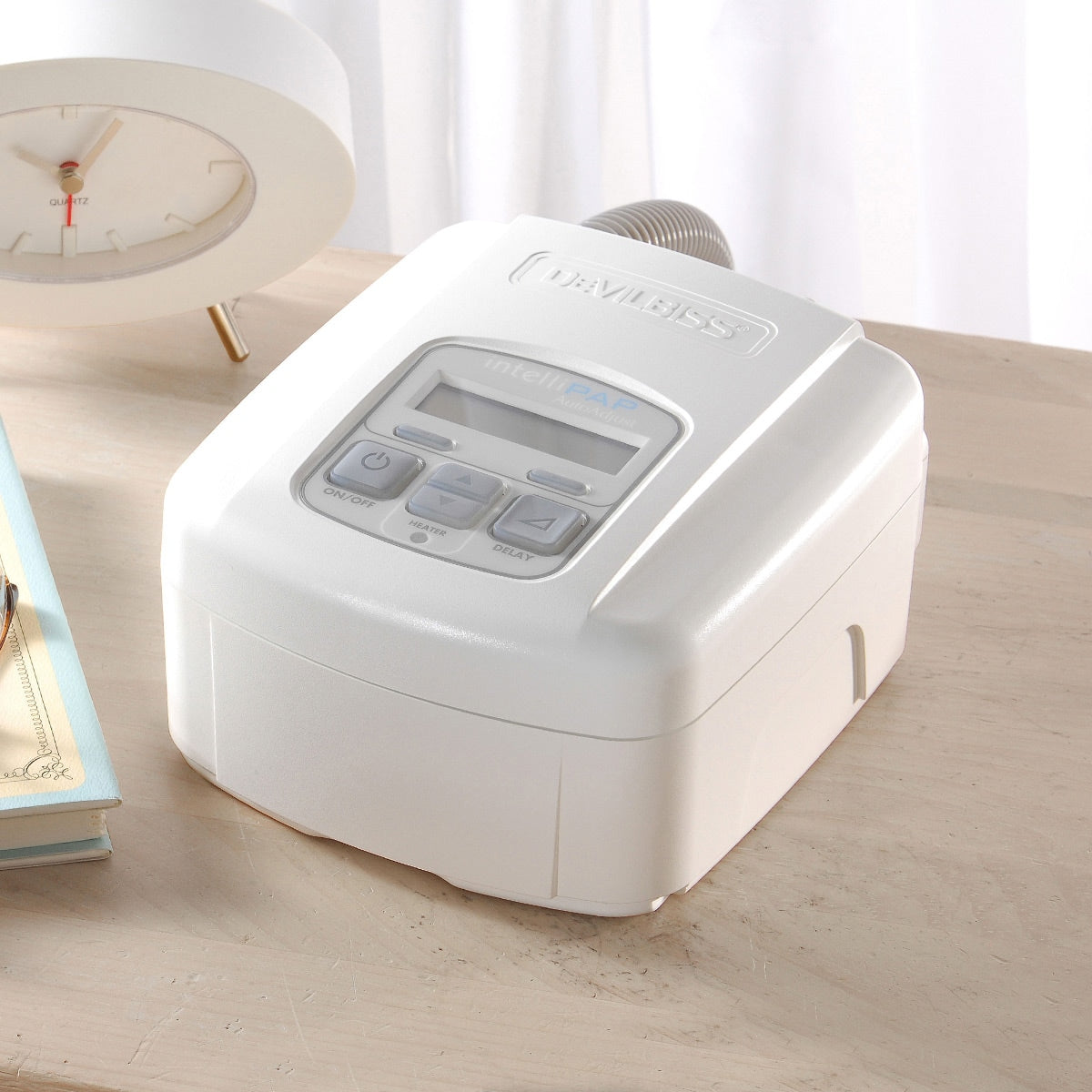 IntelliPAP AutoAdjust Travel Auto-CPAP Machine Package on top of table