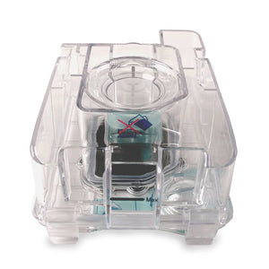 Front view of Luna Humidifier Water Chamber made of clear plastic.