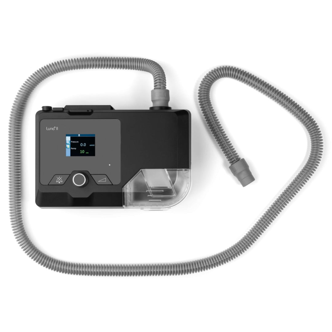 Top view of Luna II Auto CPAP With Integrated Heated Humidifier and swivel tube connector.