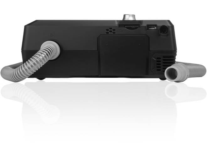 Back view of Luna II CPAP With Integrated Heated Humidifier and swivel tube connector.