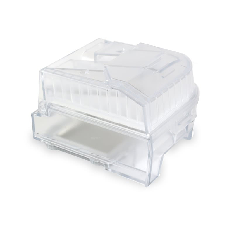 Side view of see through water chamber humidifier for Luna II CPAP With Integrated Humidifier by 3B Medical.
