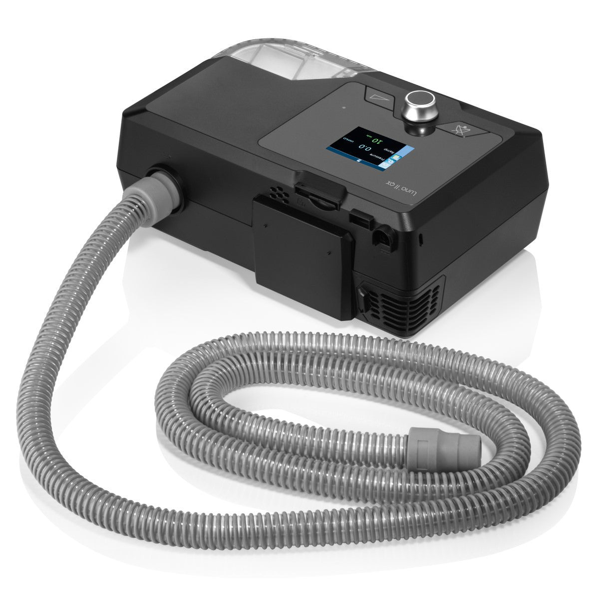 Back view of Luna II QX CPAP With Integrated Heated Humidifier and swivel tube connector.