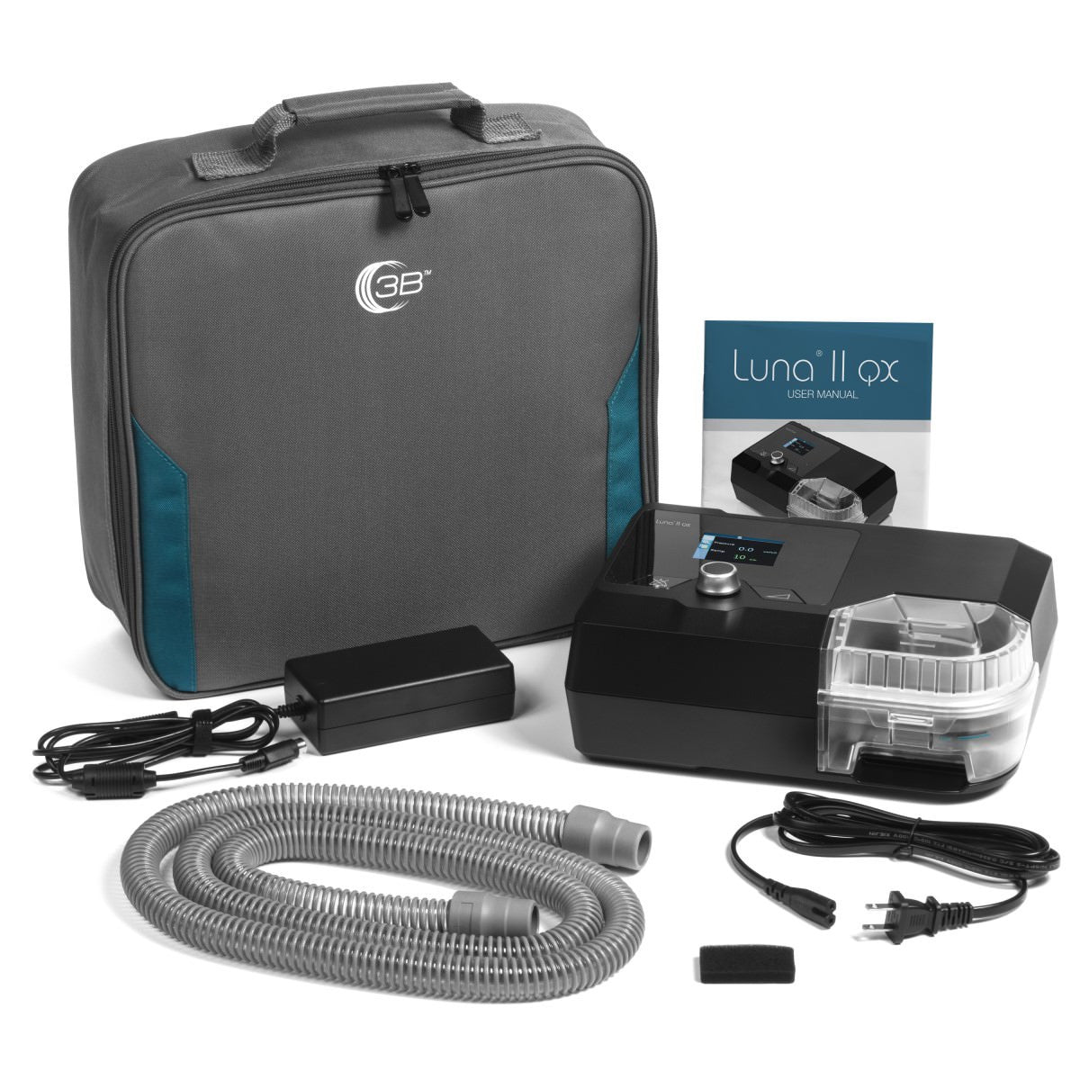 Front view of carrying case, Luna II QX CPAP Machine, swivel tube connector, user manual and battery adapter.